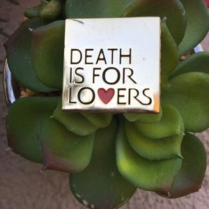 Death is for Lovers gold red heart pin square